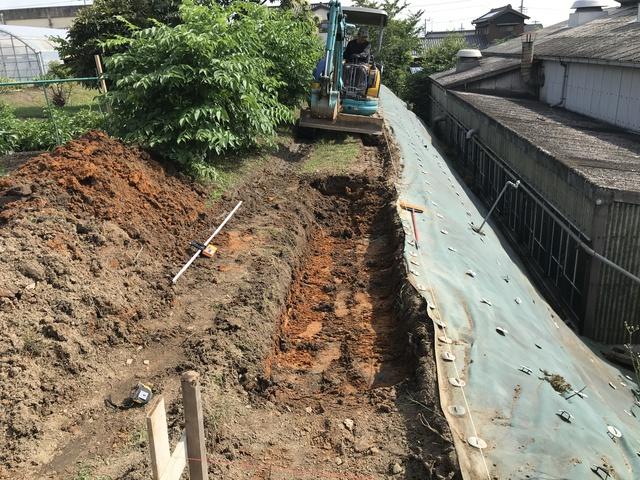 豊田市地境のブロック積み着手 外構工事