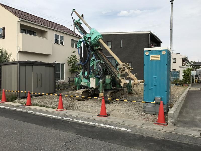 調査後、柱状改良にて地盤補強