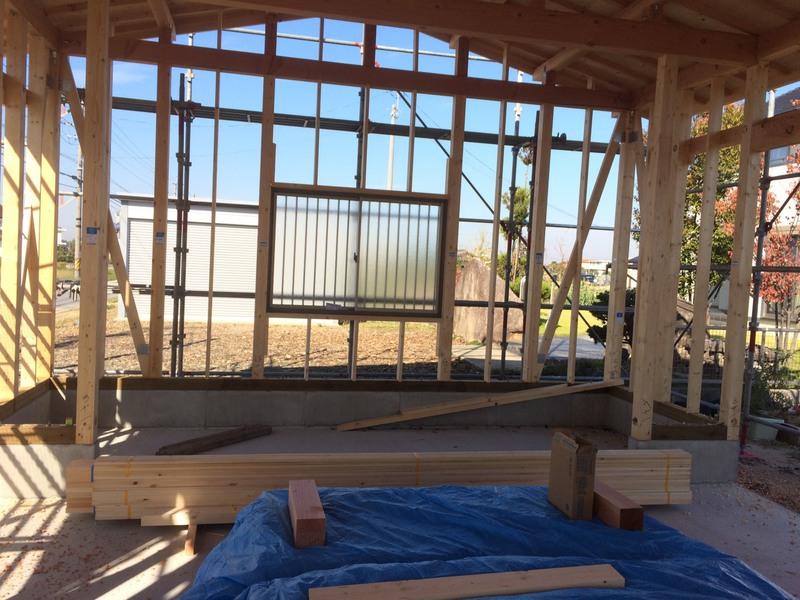 建て方後、すぐに造作工事
