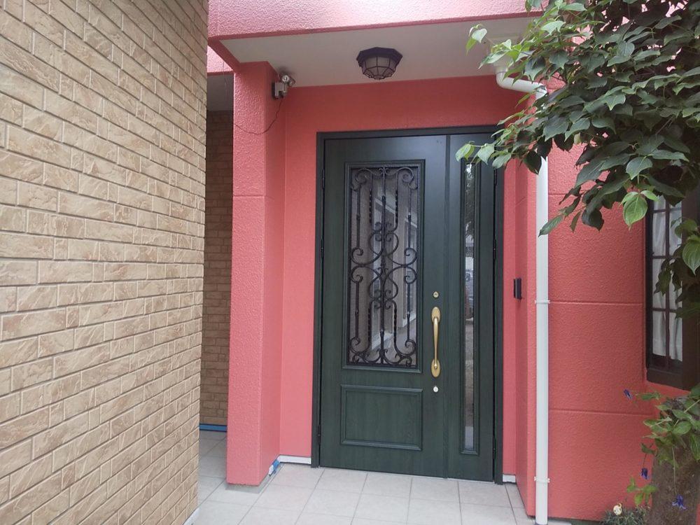 玄関サッシの交換 モダン調の親子ドア